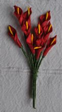 DARK RED CALLA LILY aka ARUM LILY Mulberry Paper Flowers